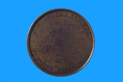 Silver medal struck to commemorate the sailing of the URANIE expedition from Toulon in 1817 under Freycinet; Puymaurin & Andrieu; 1817; SF000697