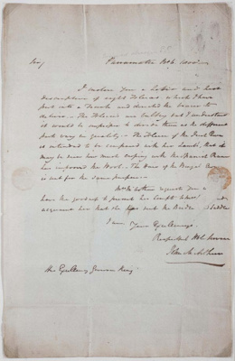 Letter addressed to Governor King, signed by John Macarthur; John Macarthur; 1800; SF000086