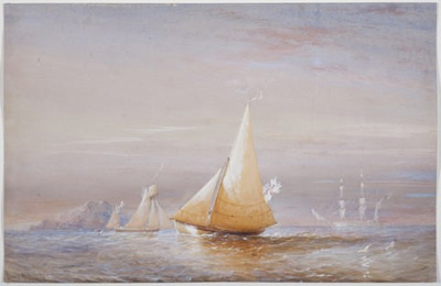 Depicts the cutter BRAMBLE with the RATTLESNAKE at rest in the distan; Oswald Brierly; c 1848; SF000718