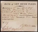Printed subscription receipt – Bank of New South Wales; D'Arcy Wentworth; 1817; SF001464