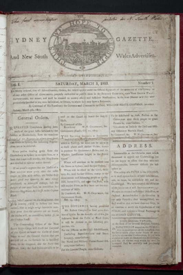 The Sydney Gazette and New South Wales Advertiser, Volume 1 Number 1; Michael Massey Robinson; 1803; SF000720