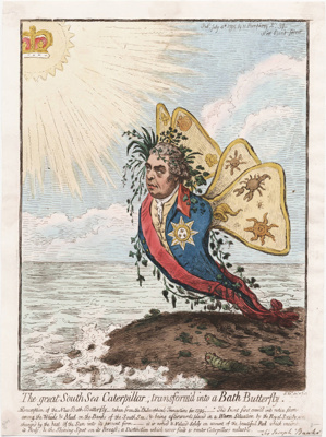 The Great South Sea Caterpillar, transform'd into a Bath Butterfly ; James Gillray; 1795