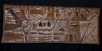 "Macassan Prahu.   Bark painting. 1959. ""Macassan Prahu"". By famous aboriginal bark artist from the 1950's Mawalan Marika.  The 170cm long bark painting represents the visits of Macassan traders to Indonesia. Virtually no original artefacts remain from that era.; Mawalan Marika; 1959; SF001126"