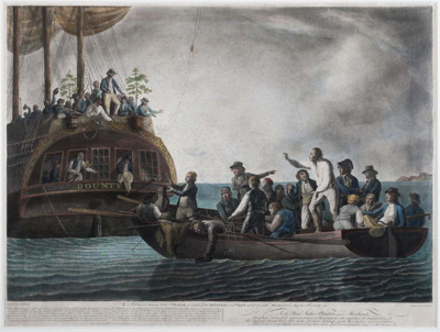 Mutineers aboard Bounty turning Bligh, loyal officers and crew adrift; Robert Dodd; 1790; SF000772