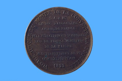 Medal commemorating the first voyage of Duperrey to the Pacific; Puymaurin & Andrieu - Engraver; 1822; SF000696