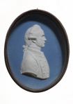 Commemorative porcelain portrait medallion of Captain Cook; Josiah Wedgwood; c1784; SF000683