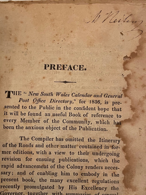 New South Wales Calendar and Post Office Directory 1836; Anne Howe; 1836; SF001488