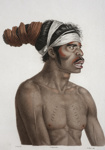 Hand coloured portrait of the Port Jackson warrior Cour-rou-bari-gal after the original by Nicolas Martin Petit; Nicholas Martin Petit; 1807; SF000789