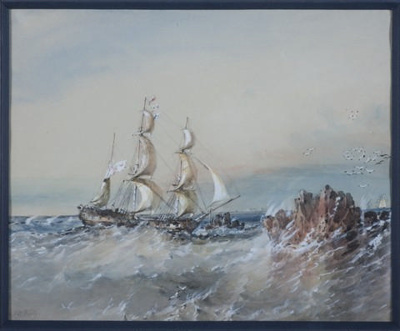 Watercolour of the RATTLESNAKE in the Torres Straits; Oswald Brierly; 1849; SF000716