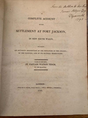 Complete Account of the Settlement at Port Jackson, in New South Wales; Watkin Tench; 1793; SF001503