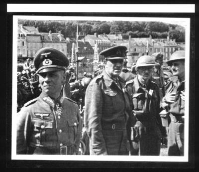 Copy of photograph - General Rommel with captured Commander of the British 51st Division - general Fortune - at Valery caux - original lost; 9024