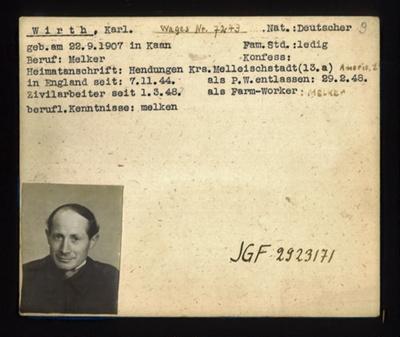 German P.O.W. record card - Karl Wirth - German - Dob 22/09/1907; 6644