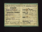 Royal Navy boarding card - unidentified R.N. vessel - A/B Ernest Makepeace; 2509