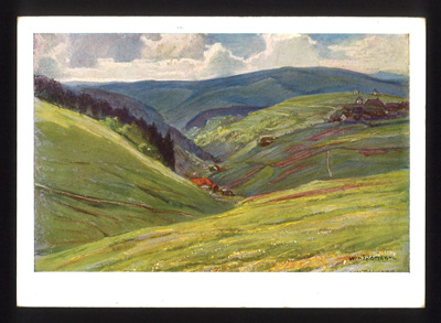Postcard of a painting by Wilhelm Feldmann sent by fieldpost from Franz Glanz to parents 15/08/1943. in German with English translation. Franz Glanz a POW at Eden Camp.; 71519