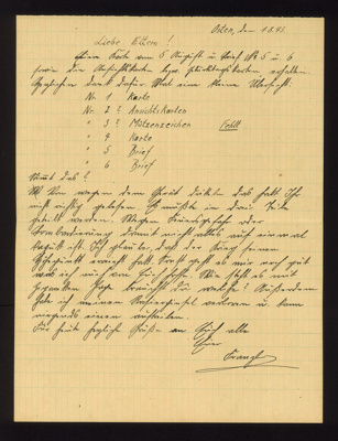 Handwritten letter from Franz Glanz to his parents 01/08/1943 Eastern front. he believes war has reached its climax. in German with English translation. Franz Glanz a POW at Eden Camp.; 71518