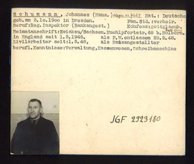 German P.O.W. record card - Johannes Schumann - German - Dob 03/10/1900; 6649