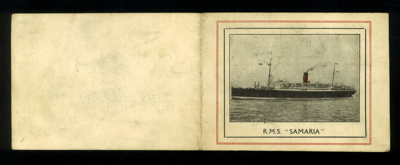 "Autograph card with photograph of ""R.M.S. Samaria"" - homeward bound from Durban to Liverpool - 31/03/1946; 31/03/1946; 1765"