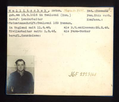 German P.O.W. record card - Anton Wallitschek - Rumanian - Dob 12/09/1916; 6641