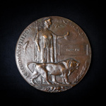 WW1 Death Plaque commemorating Fred Pye. Likely 241204 Rifleman Fred Pye. 2nd/5th Bn South Lancashire Regiment; 77920