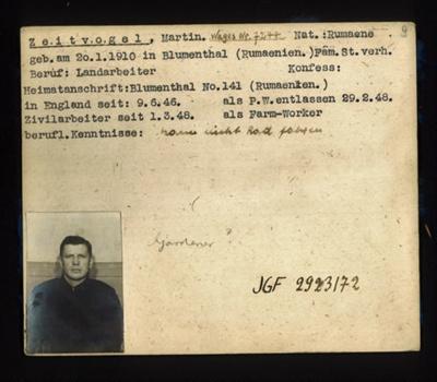 German P.O.W. record card - Martin Zeitvogel - Rumanian - Dob 20/01/1910; 6645