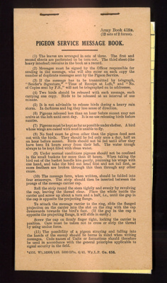 """Army book 481B - """"Pigeon service message book"""" - plus photocopy of front page; 3810"""