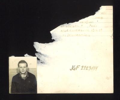 German P.O.W. record card (damaged) - Polish P.O.W. no: JGF 2923144; 5238