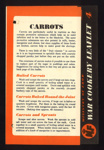 """Ministry of Food - war cookery leaflet No.4. """"Carrots""""; 21111"""