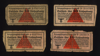German P.O.W. camp money(9) - 10 Reichspfennigs in value - paid to Allied P.O.W.'s for work; 5121