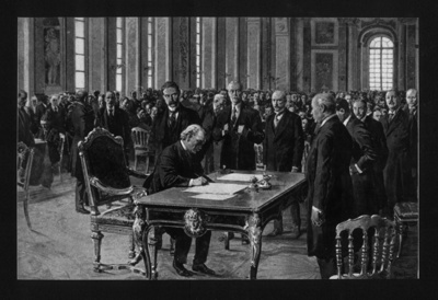 """Photograph - """"Presenting the terms of the peace treaty to Germany at Versailles"""" - 1919; 1/01/1919; 8953"""