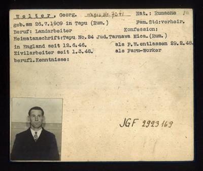 German P.O.W. record card - Georg Welter - Rumanian - Dob 26/07/1909; 6642