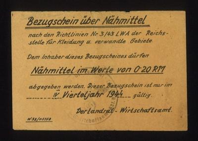 German ticket (yellow) - 1944 - purpose unknown; 1/01/1944; 5007