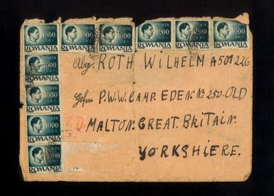 Envelope - addressed to P.O.W. Roth Wilhelm - Eden Camp - Old Malton - from Romania; 5340