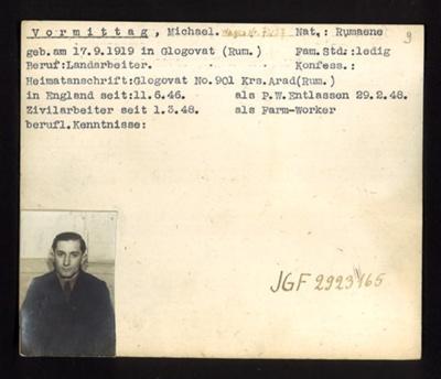 German P.O.W. record card - Michael Vormittag - Rumanian - Dob 17/09/1919; 6638