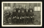 2 Photographs of German prisoners from Eden Camp - 1 group and 1 portrait (see also 18781 for copy) 1st photo of Andreas Ertl see 33097; 58492