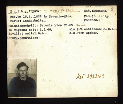 German P.O.W. record card - Arpat Tuth - Rumanian - Dob 15/10/1922; 6635