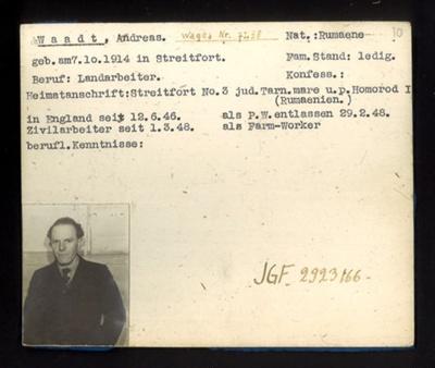 German P.O.W. record card - Andreas Waadt - Rumanian - Dob 07/10/1914; 6639