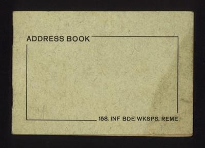 Address book - 158 Infantry Brigade workshops - R.E.M.E.; 5005