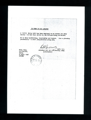 Letter of recommendation for Willy Lipp & Eden Camp 3d money POW camp 250; 9138