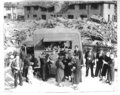Copy of photograph - Coventry bomb site - mobile catering unit ; 9031