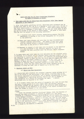 """A.R.P information leaflet form e313 - """"Leave with pay for A.R.P volunteers in cases of sickness or injury""""; 5019"""