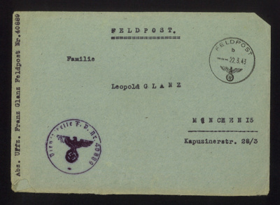 Fieldpost no 40889 postcard from uffz Franz Glanz to family Leopold Glanz 21/03/1943. postcard mentions receipt of packages, his accommodation,his cat & oaken dresser. in German with English translation. Franz Glanz a POW at Eden Camp.; 71516