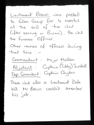 Information re: Lieutenant brown ex Eden Camp officer (and other officers); 25927