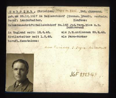 German P.O.W. record card - Christian Umbrich - Rumanian - Dob 25/12/1917; 6636