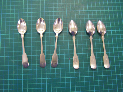 Teaspoons Silver Plate; 1838-1890; O2015.66.1 to 6