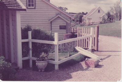 A fence outside a fencible cottage undergoing repair; 1/09/1983; 2019.129.22