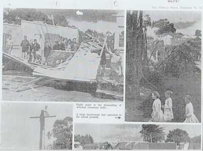 Destruction of classrooms at Howick District High School, by a tornado. destruction of classrooms at Howick District High School, by a tornado. Destruction of classrooms at Howick District High School, by a tornado.; N.Z. Weekly News; 23/12/1959; 2019.083.01