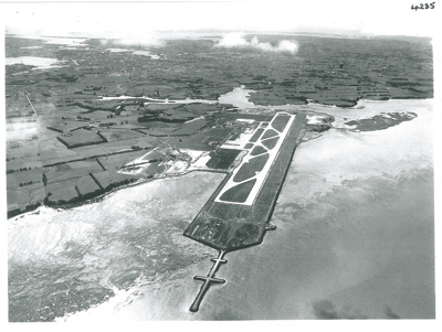 Aerial view of Mangere Airport; Whites Aviation; 28/09/1964; 2017.191.87