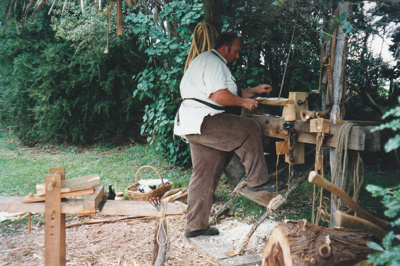 Grant Christianson, working as a bodger on a pole lathe at Howick Historical Village.; La Roche, Alan; P2021.87.05