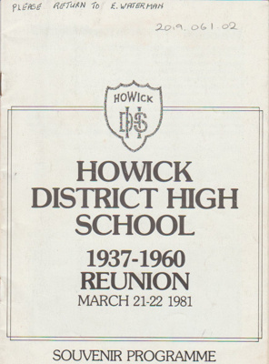 Howick District High School 1937; 1937; 2019.061.02