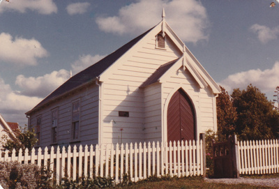Front and side view of the Howick Methodist Church in the Howick Historical Village.; La Roche, Alan; December 1982; P2020.34.10